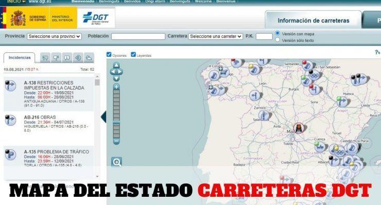 Mapa del estado carreteras DGT